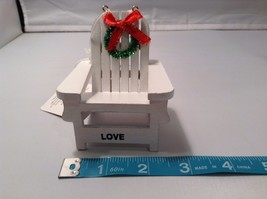 White Adirondack beach chair ornament with holiday greens wreath and LOVE image 2