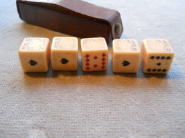 VINTAGE DICE GAME WITH LEATHER CASE-RUMPP-5 DIC... - $12.99