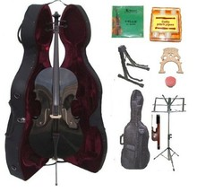 4/4 Size Black Cello,Hard Case,Soft Bag,Bow,Strings,Tuner,2 Bridges,2 St... - $299.99