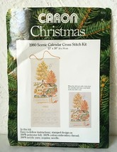 Vintage Caron Christmas 1980 Scenic Calendar Stamped Cross Stitch Kit 13... - $14.20