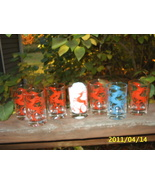 "7 Vintage Swanky Swig Small Juice Glasses Deer Red/1 Blue 3 3/4"" High Re... - $19.99"