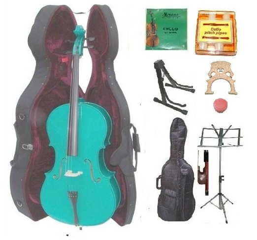 1/4 Size Green Cello,Hard Case,Soft Bag,Bow,Strings,Tuner,2 Bridges,2 Stands