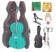 1/4 Size Green Cello,Hard Case,Soft Bag,Bow,Strings,Tuner,2 Bridges,2 St... - $199.99