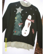 Ugly Christmas Sweater SweatShirt  + TurtleNeck 2 Pc Green Large/Snowma... - $19.99