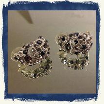 VTG Silvertone Filigree *Smoke/Black/Clear Rhinestones Cluster Pierced Earrings image 2