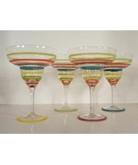 Striped Glass Colorful Margarita Goblet (s) LOT OF 4 - $24.70
