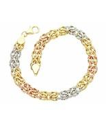 Yellow gold bracelet, white and rose 18k, round byzantine jersey, 19 cm - $883.49