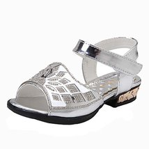 Toe Rhinestone Little Princess Summer Shoes Female Shoes Bow Mesh Sandals image 1