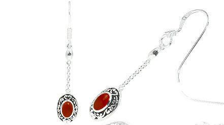 Oval cut carnelian bead dangling bali earrings sterling silver