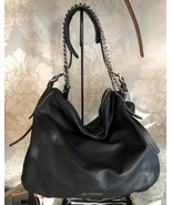 JIMMY CHOO Black Quilted Leather w/ Silver Chain Detail Hobo/Shoulder Ba... - $529.77