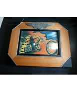 "Harley Davidson Wooden Photo Picture Frame Silver Logo 6.75"" X 8.75"" - $25.24"
