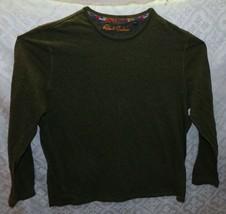 Robert Graham Mens Pullover Top Shirt Long Sleeve Hunter Olive Green 2XL Casual - $40.86