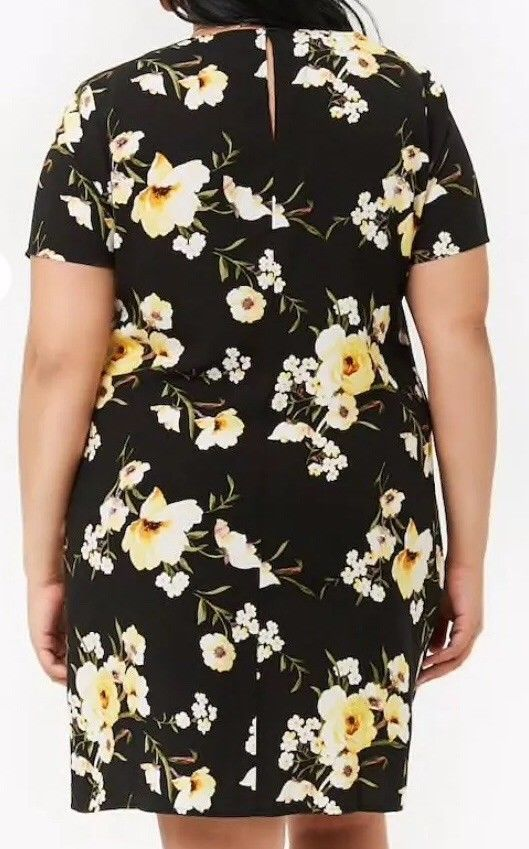 Forever 21 + Floral Print Shift Mini Tee T-Shirt Dress Black Yellow Plus Size 2X