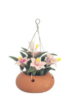 "DOLLHOUSE MINIATURE 2 3/8"" PINK LILIES IN HANGING POT #RP0755 - $6.70"