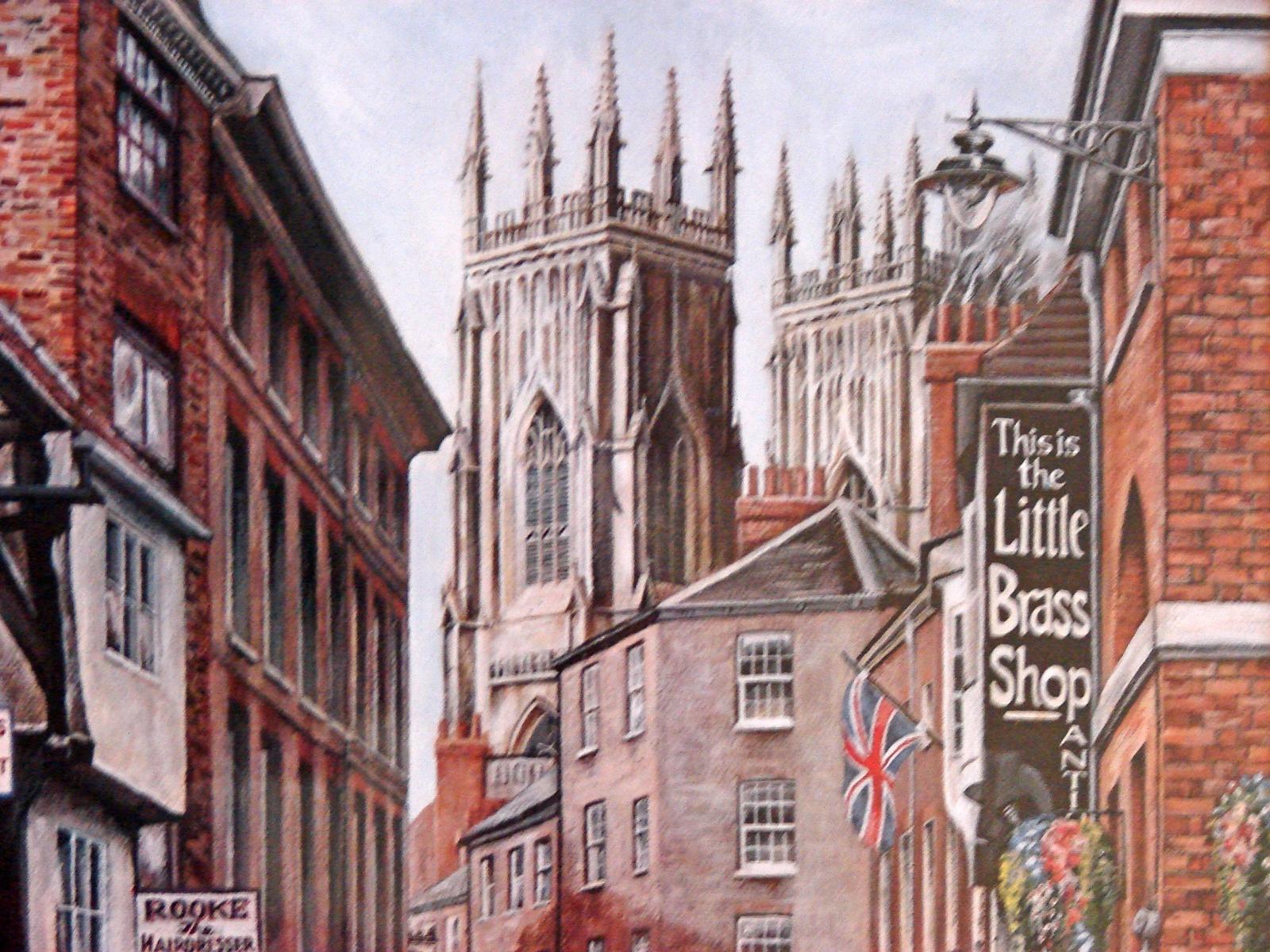 Framed UK Artist M.J. Braithwaite Print of  Lower Petergate, York UK
