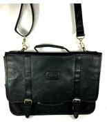 Bill Blass Black Faux Vegan Leather Laptop Briefcase Detachable Strap - $41.70