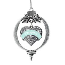 Inspired Silver Mint Daughter Pave Heart Holiday Christmas Tree Ornament With Cr - €12,80 EUR