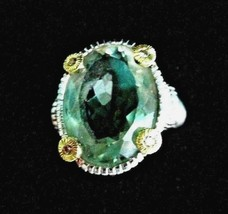 JUDITH RIPKA  .925/18K GOLD GREEN QUARTZ & DIAMOND COCKTAIL RING SIZE 6 ... - $219.95