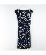 Women's Lauren Ralph Lauren Black Blue Twist Front Dress sz 2 - $43.54