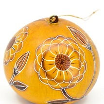 Handcrafted Carved Gourd Art Zinnia Flower Floral Ornament Made in Peru image 2