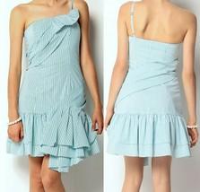 $368 Betsey Johnson One Shoulder Pinstripe Ruffles Little Duchess Dress 4 - $99.00