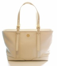 Tory Burch Buckled Landon Ivory Cream Leather Tote Bag Medium Handbag - $432.49