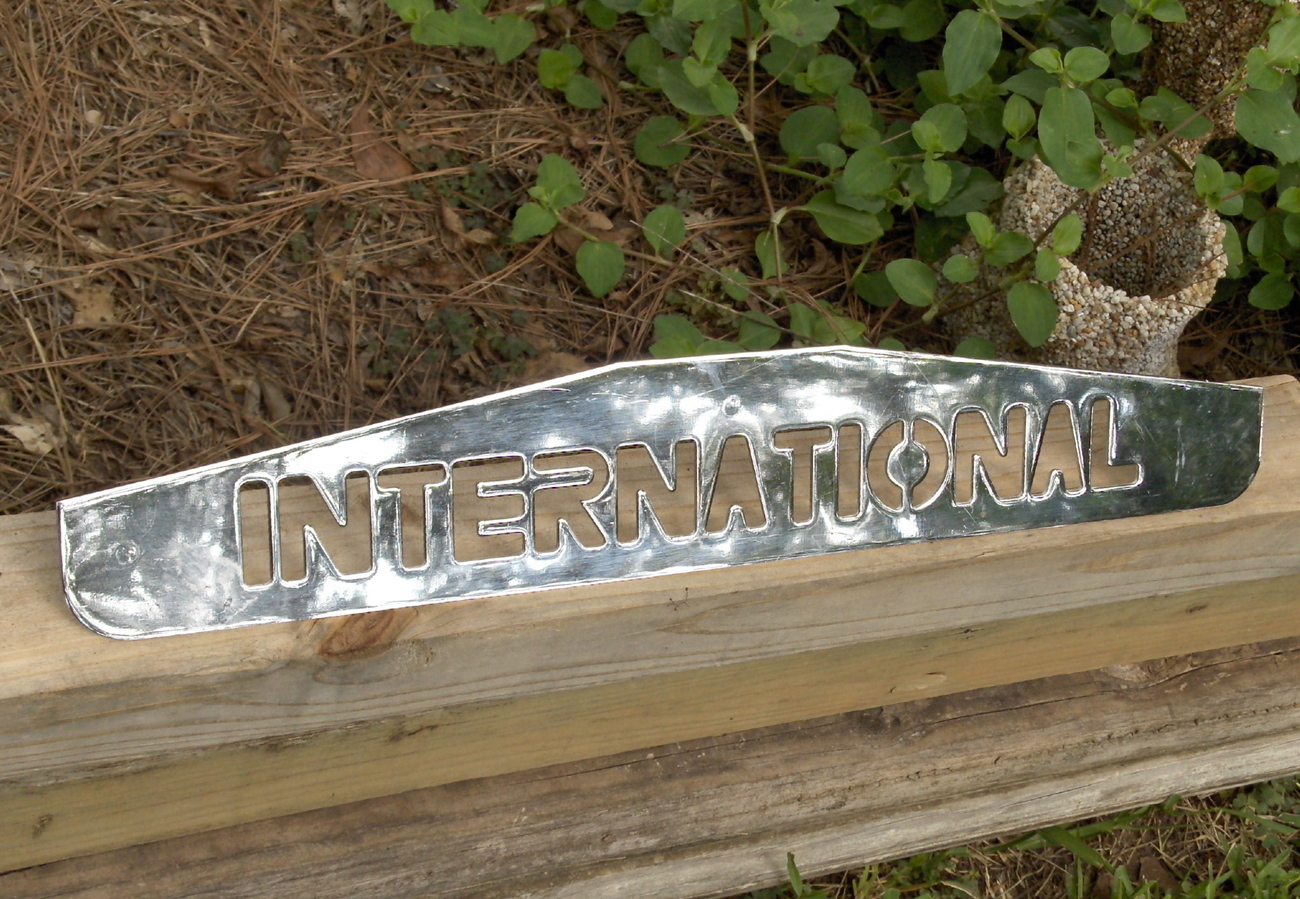 International Truck Large Chrome Metal Name Plate