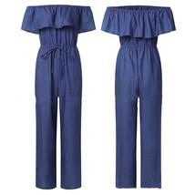 women one-shoulder Rompers ruffled plus size long/short jeans spot sale ... - $32.99