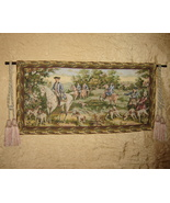Vintage Hunting Scene Tapestry Wall Hanging Or Tablecloth  - $44.55