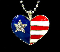 American FLAG Rhinestone HEART PENDANT Vintage Necklace Silvertone Ename... - $14.99