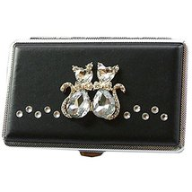 Rhinestones Cat Lovers Extended Cigarette Case Exquisite Cig Holder Box