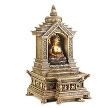 Buddha Water Fountain, Contemporary Fountain, 3 Tier Buddha Temple Fount... - $52.40