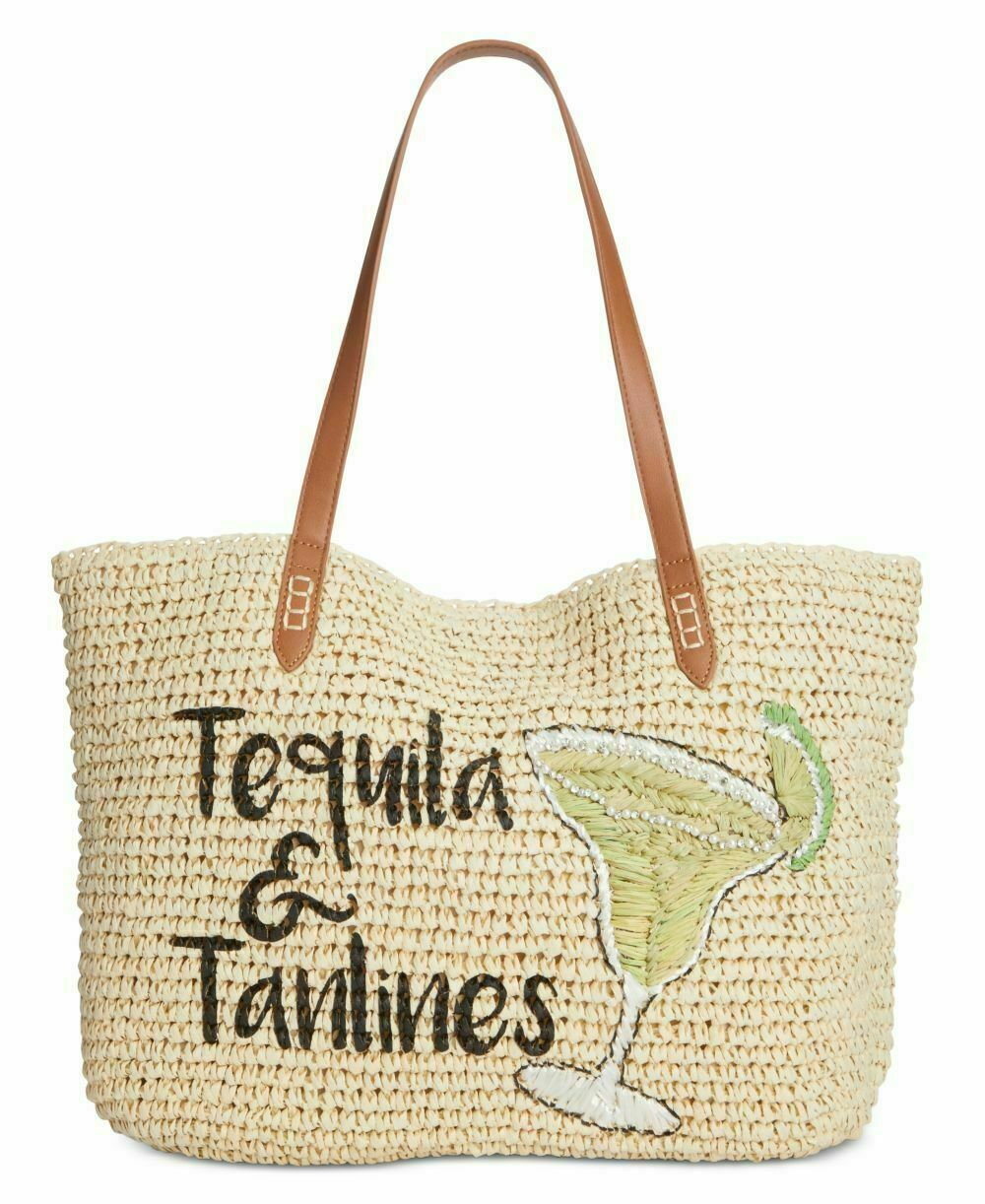 Primary image for Inc Tropical Straw Tote, Large Tequila & Tanlines NWT Free Shipping