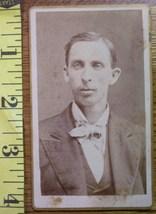 CDV Carte De Viste Photo Young Man Bow Tie Graphics! c.1859- - $3.20