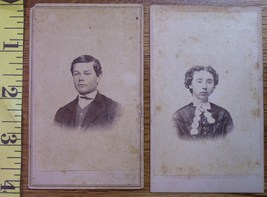 CDV Carte De Viste Photo Lot (2) Young Man & Lady! c.1859-80 - $3.20