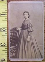 CDV Carte De Viste Photo Pretty Lady Long Dress! c.1859-80 - $3.20
