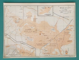 "TURKEY Bursa Broussa City Plan - 1914 Start of WWI Map 6 x 8"" (15 x 20 cm) - $25.20"