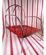 Charming Vintage 1950's Jack & Jill Kiddie Chair Red Metal & Chrome Boos... - $28.00