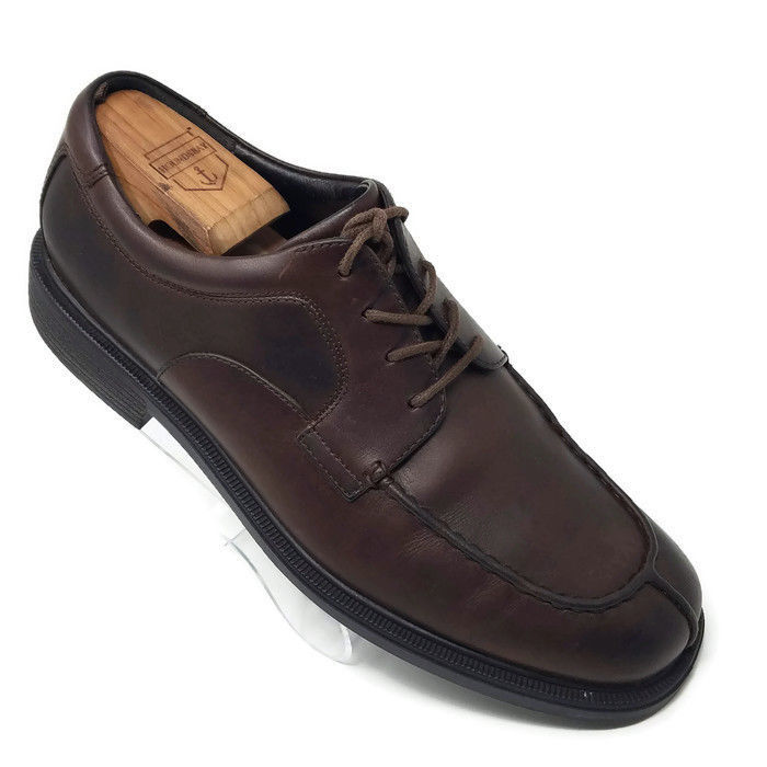 Rockport Brown Leather Lace Up Split Apron Toe Casual Oxfords Shoes Mens 10 M - $26.52