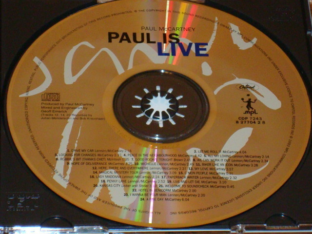 PAUL McCARTNEY PAUL IS LIVE CD