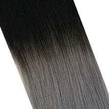 YoungSee 12inch Hidden Crown Halo Remy Human Hair Extensions Ombre Natural Black image 3