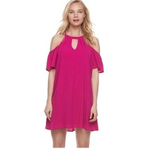 NWT Sexy Lily Rose Cold-Shoulder Flouncy Shift Dress - Pink Berry - US M... - $34.97