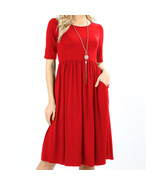 Red Viscose Dress, Red Dress with Pockets, Colbert Clothing - $29.99