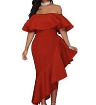 Womens Sexy Low Cut Off-Shoulder Asymmetrical Ruffle Evening Dress Gown ... - $14.85