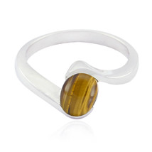 Nice Gemstone Oval Cabochon Tiger Eye ring - 925 Sterling Silver Brown T... - $14.99