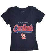 Saint Louis Cardinals, Mujer Camiseta con Cuello en V, Azul Marino, XL - $11.90