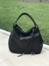 Black Made in Italy Calfskin Smooth Leather Hobo Handbag Shoulder Bag Sa... - $138.55
