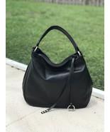 Black Made in Italy Calfskin Smooth Leather Hobo Handbag Shoulder Bag Sa... - $138.55