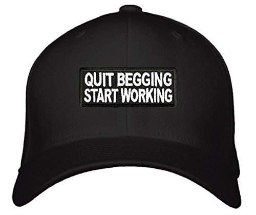 Quit Begging Start Working Hat - Unisex Adjustable Black - Funny Cap