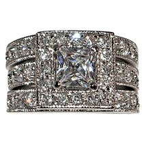 Vintage-Style Princess-Shape with Milgrain Edging 2.58 Ct Cubic Zirconia... - $50.44